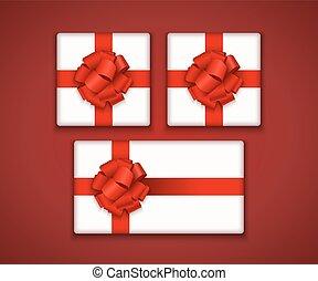 boîte, cadeau, moderne, arc, vecteur, ruban