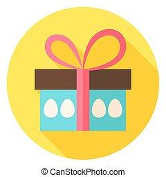 boîte, cadeau, oeufs, ic, paques, cercle