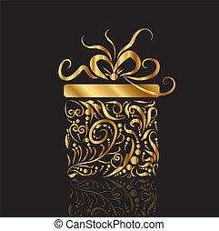 boîte, cadeau, or, conception, présent noël