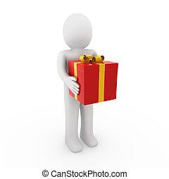 boîte, cadeau, or, humain, rouges, 3d