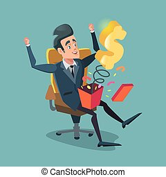 boîte, cadeau, ouverture, argent., illustration, excité, vecteur, homme affaires, dessin animé