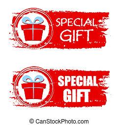 boîte, cadeau, présent, dessiné, bannière, noël, spécial, rouges
