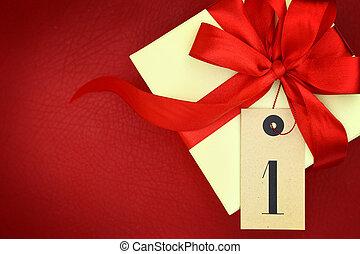 boîte, cadeau, premier, ruban, fond, rouges
