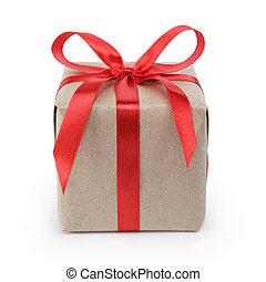 boîte, cadeau, recyclé, arc, wraped, papier, petit, ruban