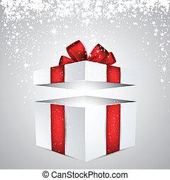 boîte, cadeau, rouges, arc