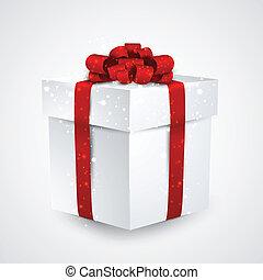 boîte, cadeau, rouges, bow.