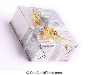 boîte, cadeau, ruban, argent