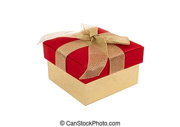 boîte, cadeau, ruban or