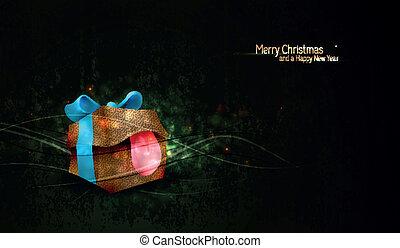 boîte, cadeau, salutation, hautement, fond, textured, unique, noël