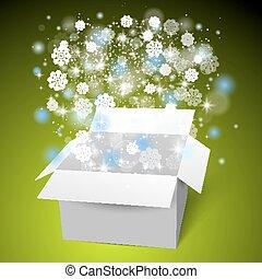 boîte, cadeau, snow., arrière-plan vert, blanc, ouvert, noël