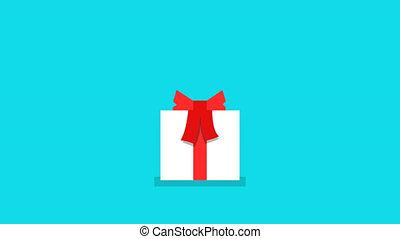 boîte, cadeau, sommet, chutes, ruban, bandé, rouges
