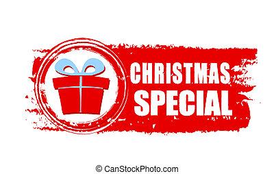 boîte, cadeau, spécial, dessiné, bannière, noël, rouges