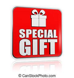 boîte, cadeau, symbole, spécial, bannière, présent