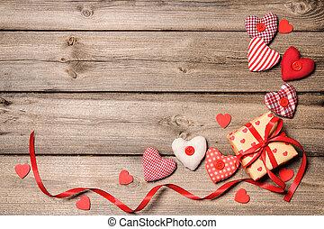 boîte, cadeau, textile, rouges, cœurs, ruban