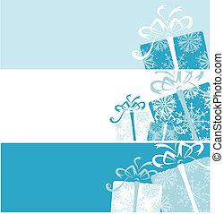 boîte, cadeau, ton, conception, bannières, noël