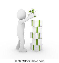 boîte, cadeau, vert, humain, tour, 3d