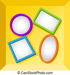 boîte, cadres, miroir, ou, fond