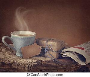 boîte, café, cadeau, tasse
