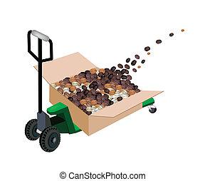 boîte, café, chargement, expédition, pallet camion, haricots
