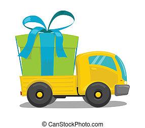 boîte, camion, vecteur, cadeau