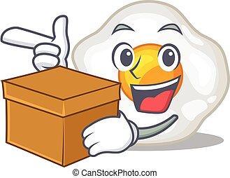 boîte, caractère, oeuf, frit, dessin animé, mignon, avoir