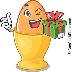 boîte, caractère, oeuf, heureux, cadeau, tasse, avoir
