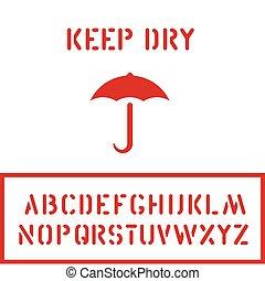 boîte, cargaison, carton, parapluie, timbre, logistique, caisse, sec, garder, conditionnement, police, ou, icône