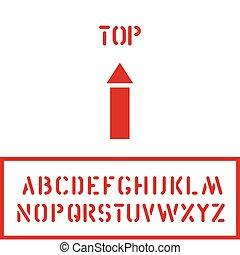 boîte, cargaison, carton, timbre, sommet, caisse, haut, conditionnement, flèche, logistique, police, ou, icône