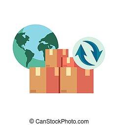 boîte, cargaison, expédition, mondiale, carton, icône