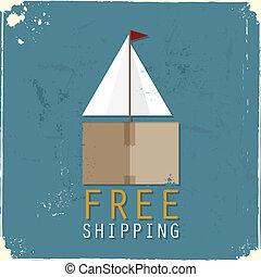 boîte, cargaison, fait, bateau, carton