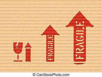 boîte, cargaison, grunge, signs:, fragile, flèches, haut, verre, vecteur, rouges