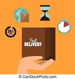 boîte, cargaison, isolé, expédition, conception, carton