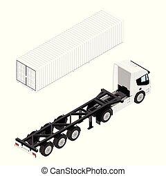 boîte, cargaison, isométrique, récipient, demi-camion, transport, vue., caravane