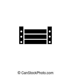 boîte, cargaison, plat, bois, palette, vecteur, icône