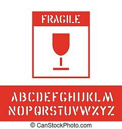 boîte, cargaison, poignée, paquet, timbre, alphabet, signe., fragile, bois, vecteur, care.