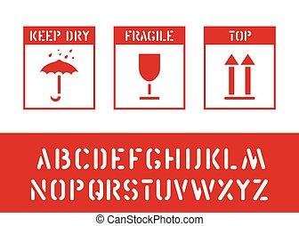 boîte, cargaison, protéger, paquet, timbre, alphabet, signe., fragile., bois, vecteur, humidité