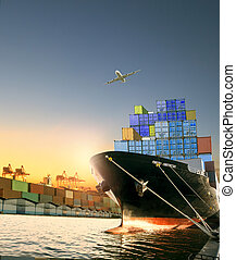 boîte, cargaison, usage, récipient, transport, sur, voler,...