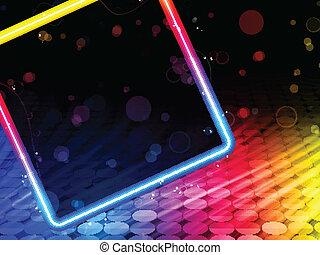 boîte, carrée, résumé, disco, arrière-plan noir