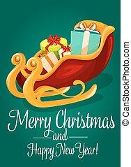 boîte, carte, traîneau, santas, jour férié christmas, cadeau