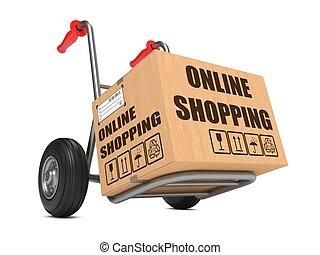 boîte, carton, achats, -, main, ligne, truck.
