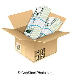 boîte, carton, billets dollar