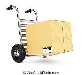 boîte, carton, camion, main