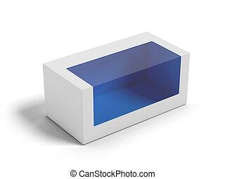 boîte, carton, fenêtre., transparent, plastique