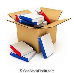 boîte, carton, livres