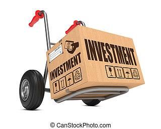 boîte, carton, -, main, truck., investissement