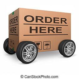 boîte, carton, ordre, ici