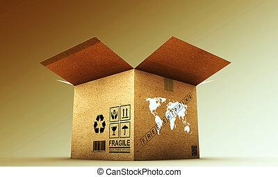 boîte, carton, ouvert