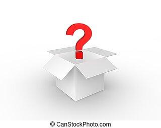 boîte, carton, point interrogation