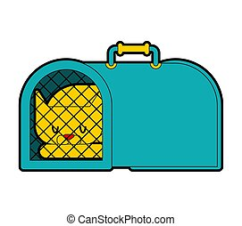 boîte, cas, porter, pet., illustration, chat, vecteur, transport