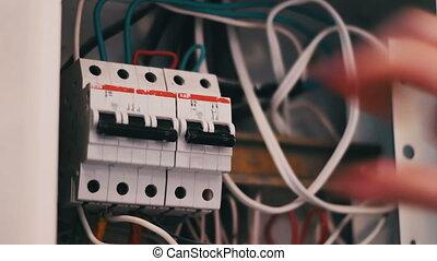 boîte, casseur, commutation, électrique